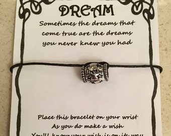 Dreams can come true, card, wish bracelet, charm, bracelet, gift, quote, various charms and colours