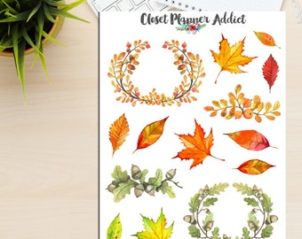 Watercolour Autumn Leaves and Wreaths (S-080)