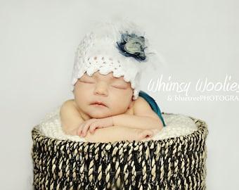 Crochet Hat Pattern:  Cloche with Flower Embellishment, Newborn, 6 mo, 12 mo, 'Fairy Dust'