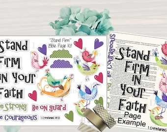 Stand Firm Bible Page Kit. Great for journaling bibles or faith journals! Digital, printable stickers.