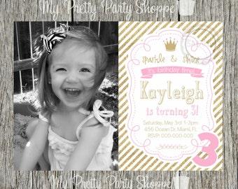 Gold / Glitter / Star / Princess / Girl / Pink Birthday Party Invitation