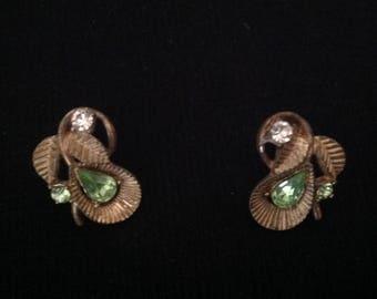 1950s Vintage Earrings /  50s Clip on