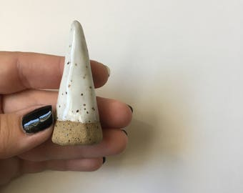 Speckled white ring holder ring cone wedding ring holder wedding ring dish wedding ring cone jewelry cone ceramic ring cone stocking stuffer