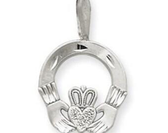 Diamond Cut Satin Finish Claddagh Charm (JC-948)