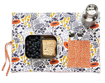 Flower placemat in orange and violet. Ecofriendly place mat for her. Cutlery travel bag.