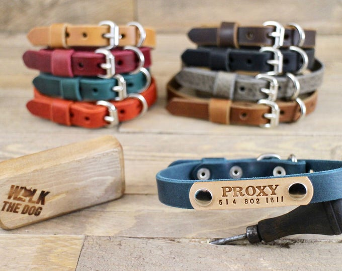 Dog collar, FREE ID TAG, Leather collars, Handmade collars, Dog gift, Personalised gift, Colors  collar, Colours  collar, Blue collar