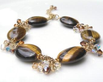 Tiger Eye Bracelet, Swarovski Crystals, Gold Filled, Chocolate Brown Stone, Autumn Jewelry, Artisan Handmade Gift, Ready to Ship