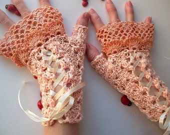 Crocheted Cotton Gloves Bridal Ready To Ship Victorian Fingerless Summer Women Wedding Lace Evening Hand Knitted Party Orange Corset B46