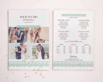 Photography Pricing Template - Price Guide List for Photographers - Wedding Photographer Photo Price Sheet - Price Guide - PG001