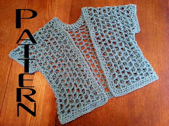 Crochet Pattern Quick Lattice Cardigan Shrug Diy Easy Big Hook