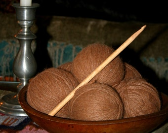 Vintage Primative Wooden Gathering  Bowl Antique knitting Needles filled with Alpaca Yarn Gift Knitting Crochet