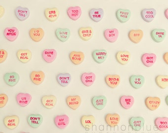 whimsical candy heart photography / conversation heart, love, romantic, message, valentine's day, pattern / what does your heart say / 8x8