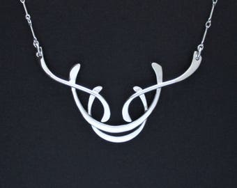 Sterling Silver Contemporary Abstract Necklace