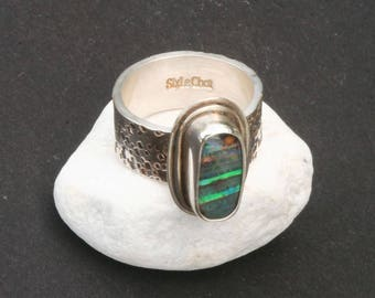 Sterling silver Australian Boulder opal ring. Natural opal ring. 925 silver boulder opal ring. Gemstone ring. Taille 8 US - 57 Europe.