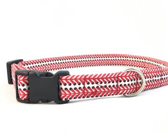 Red Baseball dog Collar - Baseball Mom gift - Red Baseball dad dog Collar - Red Dog Collar - Red Baseball Life Collar - Dog Collar