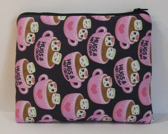 "Pipe Pouch, Hot Cocoa Bag, Hugs, Girlfriend Gift, Pipe Case, Pipe Bag, Cute Pouch, Padded Pouch, Pipe Cozy, Zipper Bag, 7.5"" x 6"" - X LARGE"
