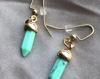 Pale Green Magnesite Gold Drop Earrings
