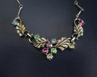 Vintage Enamel And Pastel Rhinestone Link Necklace 1950s