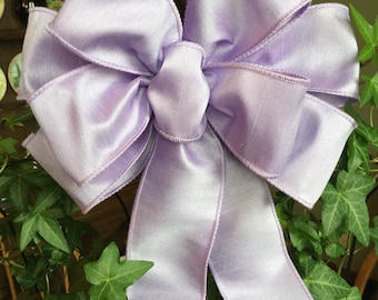 "Lavender Dupioni Silk look ribbon beautiful 10"" wide bow many colors available for Tree Topper  wedding pew wreaths dec"