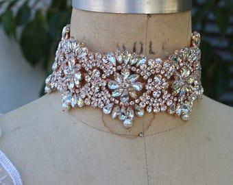 rose gold pearl necklace, rose good bridal necklace, Crystal Choker  Necklace, Bridal Necklace Statement Bridal Necklace, Bridal Jewelry