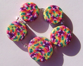 Fall Colors Artisan Polymer Clay Bead Set with Focal and 4 Beads