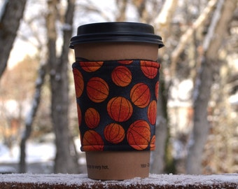 FREE SHIPPING UPGRADE with minimum -  Fabric coffee cozy / cup holder / coffee sleeve  / tea sleeve -- Basketball Jones