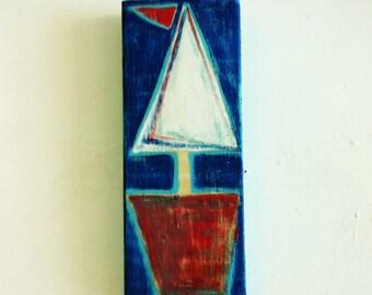 Original Sailboat Painting Wooden Coastal Beach Wall Hanging Art Decor