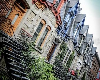 Montréal Architecture Photo Le Plateau Photo Row Houses Colorful Roofs Stairs Typical Montreal Fine Art Photography Carré St-Louis Photo