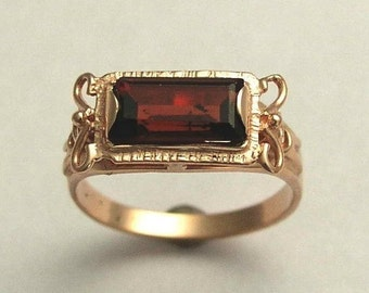 Solid Rose Gold ring, Garnet Ring, January birthstone, engagement ring, antique ring, rectangle stone ring - The sky is the limit RG1400-2