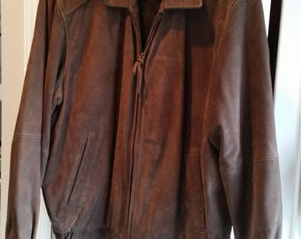 Vintage Joseph & Feiss Men's Brown Leather Jacket - Size Large