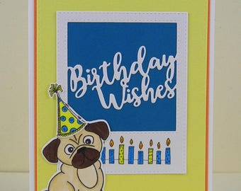 Pug Birthday Card, Pug Card, Dog Birthday Card, Pug Happy Birthday, Pug Greeting Card