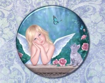 Little Miracles Angel Child & Kitten Pocket Mirror