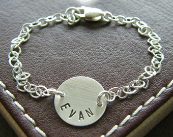 "Personalized Name Bracelet - Custom Hand Stamped Sterling Silver Charm Jewelry - 1/2"" Charms with Optional Birthstone or Pearl"