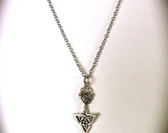 Celtic Necklace Celtic Knot Necklace Triquetra Trinity Knot  Chainmaille, Rosary Connector, Bohemian Bridal Celtic Jewelry