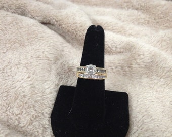 Vintage Sterling Silver Ring Set with Cubic Zirconia, Size 6.75