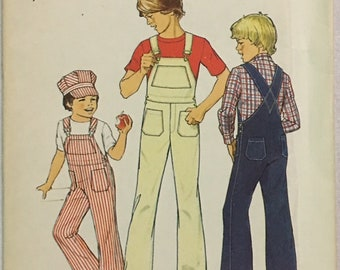 Simplicity Pattern 7015 Boys Overalls and Cap ~UNCUT~ Size 3 -4