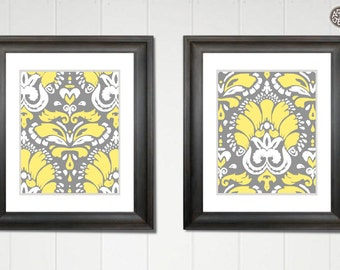 Downloadable and Printable Set of 2 Damask wall Decor Patterns, Two 8x10 prints in Gray Yellow and White, INSTANT DOWNLOAD