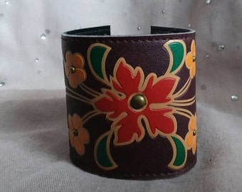 Upcycled leather flower cuff bracelet