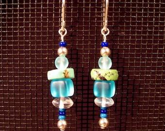Sterling Silver Ocean Colors Dangle Earrings