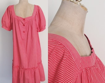 1980's Red Striped Tent Dress Size Medium by Maeberry Vintage