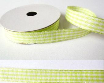 2 m x fancy 10mm PALE green GINGHAM Ribbon