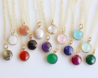 Natural Gemstone Gold Fill Necklace-Raw Birthstone Round Vermeil Bezel Gold Necklace-emerald,pearl,moonstone,ruby,sapphire,rose,clear quartz