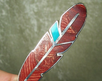 REVERSIBLE Stone Inlay Feather Centerpiece - Banded Red Jasper, Turquoise, and Sterling Silver