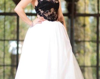 Black and white wedding dress, modular wedding dress, unique wedding dress