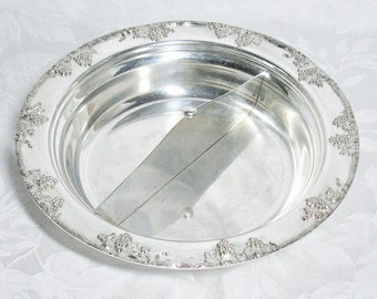 Excelsior Silver Plate Divided Bowl With Grade Vine Pattern