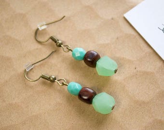 Aqua Brown Green Dangle Earrings| Gifts for Her | Selflove | Selfcare| Colorblocking | Day to Night | Minimalistic Jewelry