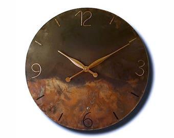 Copper clock, design clock, wall clock, hand made clock, clocks, original clock, design wall clock