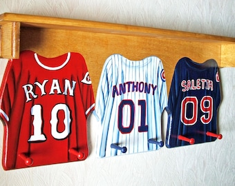 Three Jersey Custom Wall Hangings with Shelf and Pegs