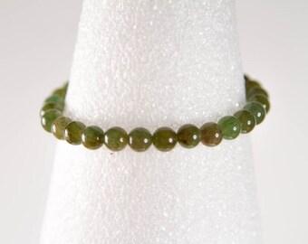 Olive Green Stone Stretch Bracelet, Natural Stone Agate Stacking Bracelets, Semi Precious Gemstone Elastic Bracelet, Various Sizes