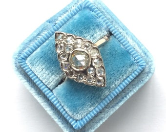 Vintage Navette Ring | Rose Cut Diamond Ring | Rose Gold Ring | Engagement Ring | Unique
